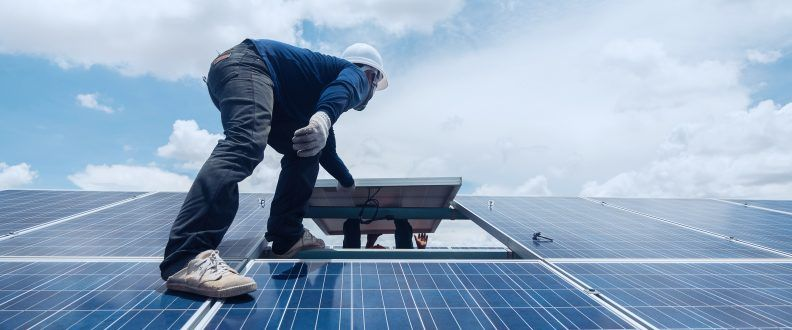 Engineer,And,Electrician,Team,Swapping,And,Install,Solar,Panel,;